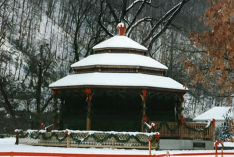 snow on gazebo