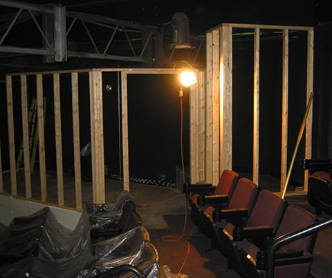 inside theatre renovation