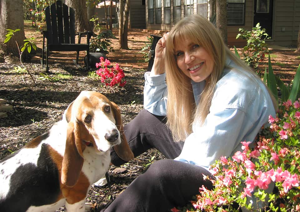basset hound and owner