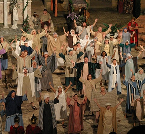 biblical cast in amphitheatre
