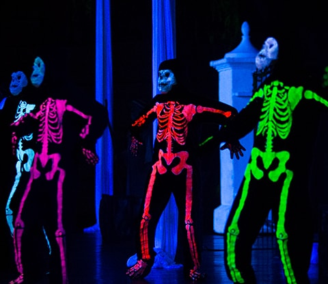 skeletons in blacklight
