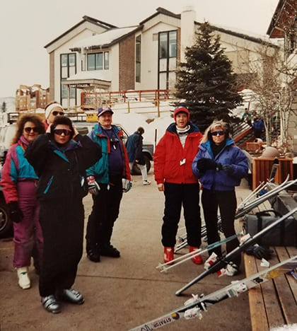 friends at ski resort